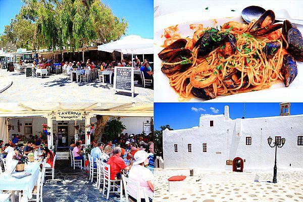 希臘自助行-Taverna Vangelis米克諾斯餐廳(Mykonos),1953年開業至今,餐廳豐富,Taverna Vangelis in Ano Mera城市廣場露天景觀餐廳,一旁有著名的Panagia Tourliani Monastery修道院