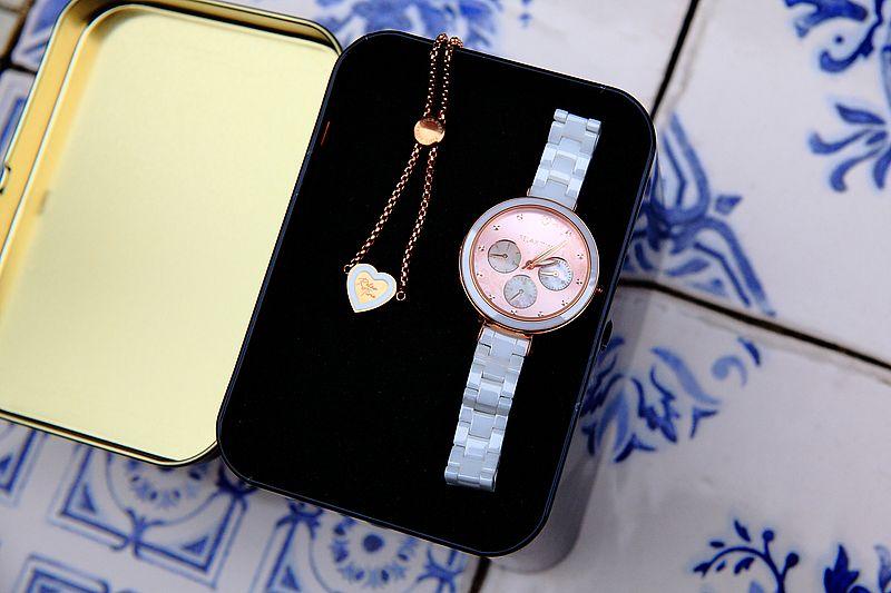 RELAX TIME LOVE愛戀系列半陶瓷三眼腕錶 愛戀粉RT-91-3,加碼送手練,2020最適合送禮的一款手錶 @upssmile向上的微笑萍子 旅食設影