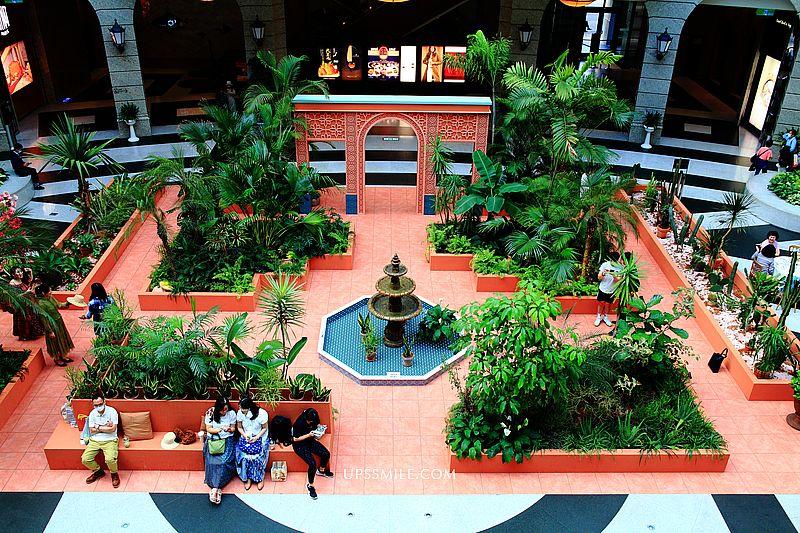 【信義區新景點】BELLAVITA貴婦百貨摩洛哥花園,來寶麗廣場信義區偽出國景點,IG網美打卡台北景點,Moroco Style馬賽克噴泉、磚紅色拱門 @upssmile向上的微笑萍子 旅食設影